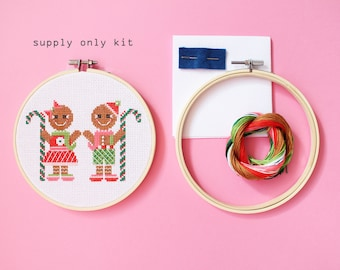 Gingerbread Pair - Supply only kit - Modern cross stitch kit