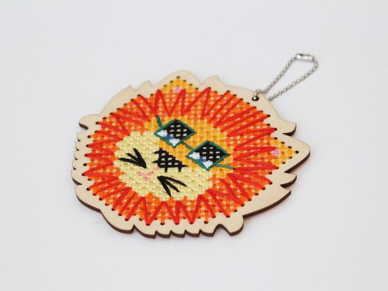 Cross stitch kit with wood shape Kids cross stitch kit Leo Lion
