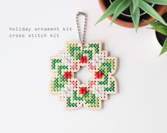 Wreath - Easy DIY cross stitch kit with wood disk - modern cross stitch kit
