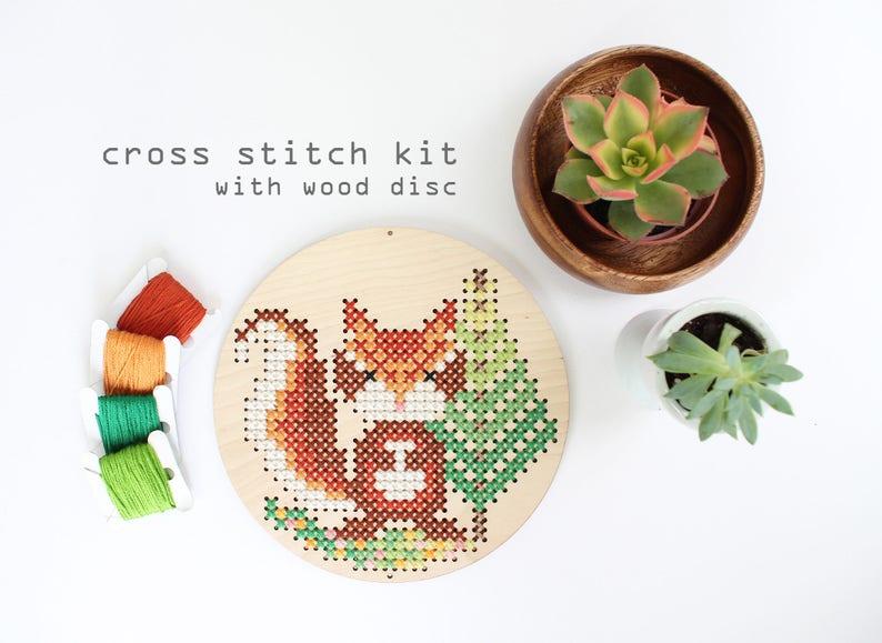 Chipmunk in the Woods  Modern DIY Cross Stitch Kit  Kids image 0