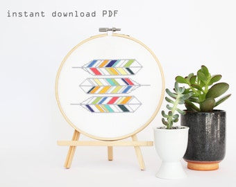 Geometric Feathers - Modern counted  cross stitch pattern - Instant download PDF