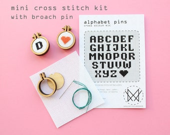 Alphabet Pin - Mini Hoop kit with broach pin - beginner cross stitch kit - easy DIY cross stitch