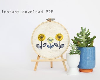 Yellow Spring Flowers - Easy DIY Counted Cross Stitch Pattern