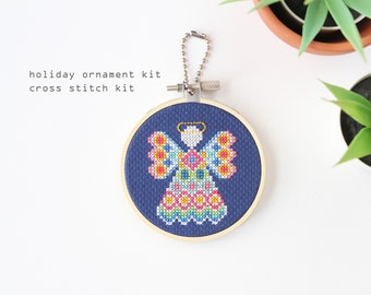 Angel - holiday ornament cross stitch kit - beginner cross stitch kit- easy DIY cross stitch