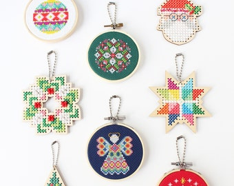 2021 holiday ornament mix n' match trio - holiday ornament kit - easy DIY cross stitch kit
