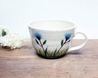 Handmade Ceramic Mug, Wild Cone Flower Design, Wheel Thrown, Hand Painted Mug for Coffee and Tea Lovers, Hand Painted Pottery