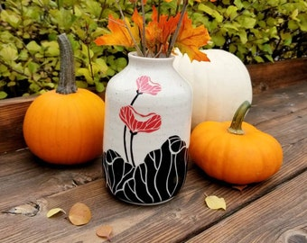Handmade Ceramic Vase, Asian Themed Gift, Wheel Thrown, Hand Painted and Carved Vase for Flowers, Unique Gift!