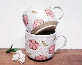Handmade Ceramic Mug, Cherry Blossom Design, Wheel Thrown, Hand Painted for Coffee or Tea Lovers