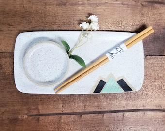 Handmade Ceramic Sushi/Serving Plate with Sauce Dish Set, Modern Mountain Design, Handmade, Hand Carved Serving Plates, Unique Gift!