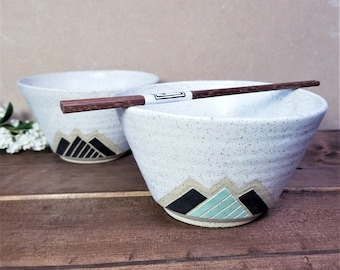 Handmade Ceramic Noodle Bowl, Mountain Design, Wheel Thrown, Hand Painted and Carved Ramen Noddle, Unique Gift!