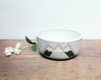 Handmade Ceramic Serving Bowl, Modern Snowy Mountain Design, Wheel Thrown Cereal Bowl, Unique Gift!