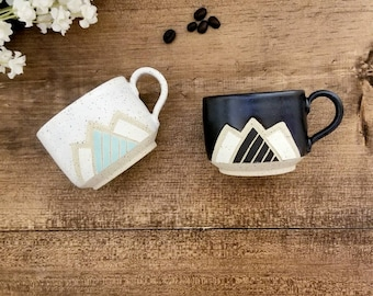 Handmade Ceramic Espresso Mug, Modern Mountain design Wheel Thrown, Hand Painted and Carved Mug for Coffee or tea Lovers, Unique Gift!