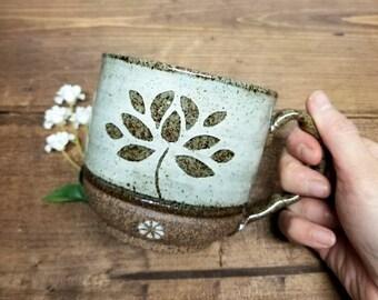 Handmade Ceramic Mug, Lotus Flower Design, Wheel Thrown Mug for Coffee and Tea Lovers, Asian Themed Gift, Unique Gift-Rustic