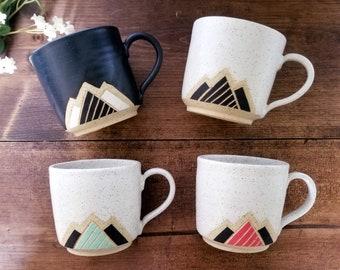 Handmade Ceramic Mug, Modern Mountain Design, Wheel Thrown, Hand Painted and Carved Mug.