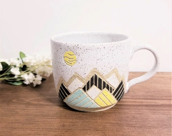 Handmade Ceramic Mug, Modern Moon Mountain Design, Wheel Thrown, Hand Painted and Carved Mug for Coffee or Tea Lovers, Unique Gift!