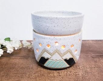 Handmade Ceramic Wax Warmer, Essential Oil Burner, Modern Mountain Design, Wheel Thrown, Hand Painted and Carved.