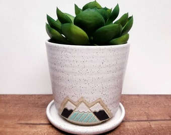 Handmade Ceramic Indoor Planter, Modern Snowy Mountain Design, Wheel Thrown, Hand Painted and Carved Indoor planter Unique Gift!