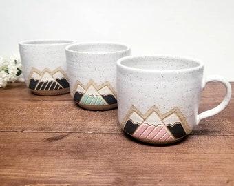 Handmade Ceramic Mug, Modern Snowy Mountain Design (2 sizes), Wheel Thrown, Hand Painted and Carved Mug.