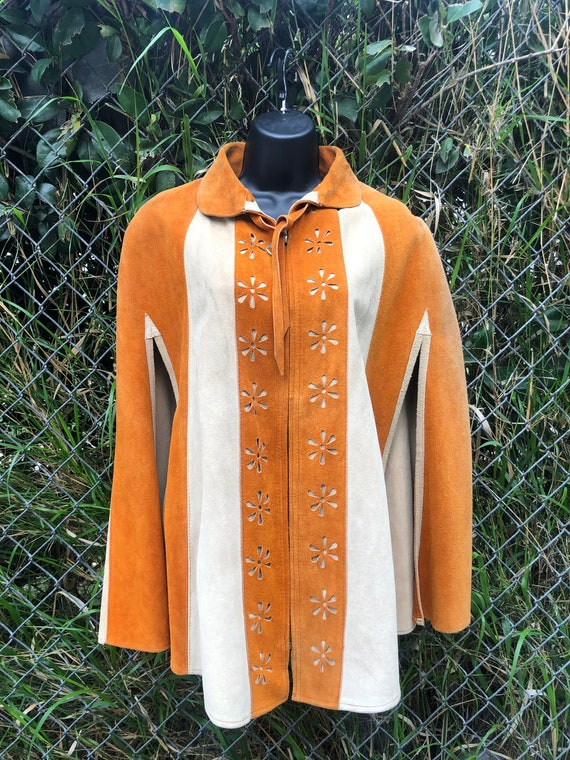 70's suede zip-up poncho/cape