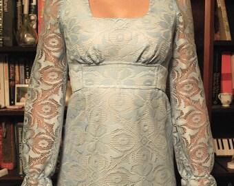 Floor Length 60's Blue Lace Dress