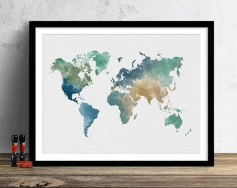 World Map Watercolor Illustration Art Print Large Map Print Map Wall Art Poster Home Decor Gift PRINT