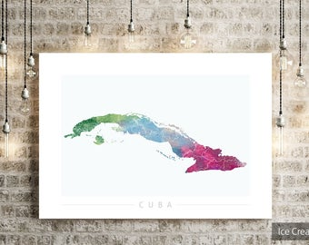 Cuba Map - Country Map of Cuba - Art Print Watercolor Illustration Wall Art Home Decor Gift - NATURE SERIES PRINT  sc 1 st  Etsy & Cuban wall art | Etsy