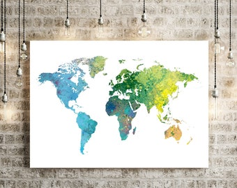 World map watercolor etsy world map watercolor illustration art print large map print map wall art poster home decor gift print rain forest gumiabroncs Images