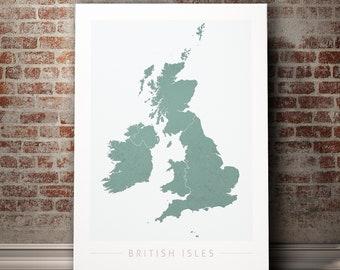 British Isles UK Map - Country Map of British Isles - Art Print Watercolor Illustration Wall Art Home Decor Gift - COLOUR PRINT
