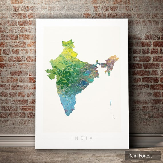 India Map Country Map of India Art Print Watercolor | Etsy