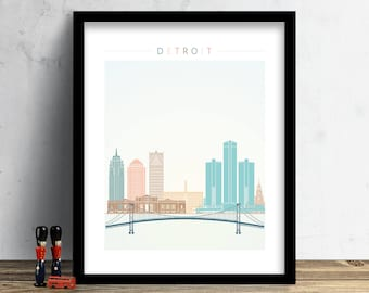 Detroit Skyline, Print, Watercolor Print, Wall Art, Michigan Skyline, Watercolor Art, City Poster, Cityscape, Home Decor, Gift PRINT