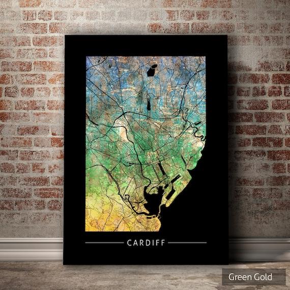 Poster Cardiff Wales Minimalist Map Travel Map Print Wall Art Gift City Map Art Poster