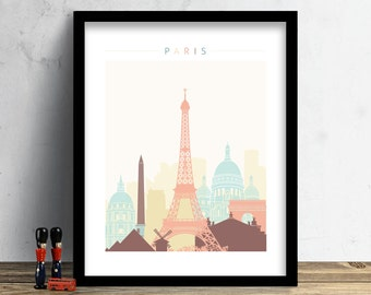 Paris Skyline, Print, Watercolor Print, Paris Wall Art, Watercolor Art, City Poster, Cityscape, Home Decor, Gift PRINT