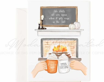 Pumpkin Spice Latte Watercolor Greeting Card Set, PSL art, happy thanksgiving illustration, thankful for you message, coffee buds, fireplace
