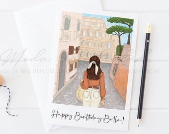 Happy Birthday Bella card, Rome inspired art, Gift for her, Roman holiday illustration, Brunette, Colosseum greeting card, Italy