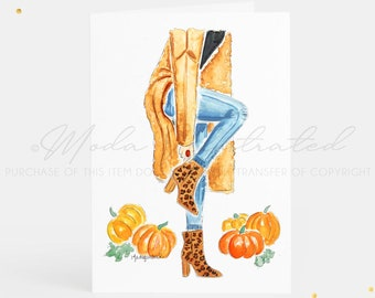 Happy Thanksgiving Fashion Watercolor Greeting Card Set, give thanks, PSL, pumpkin illustration, thankful for you, animal print booties