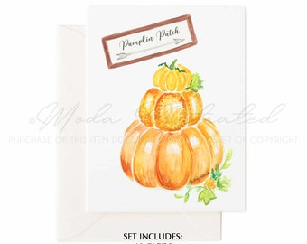 Pumpkin Patch Watercolor Greeting Card Set, Happy Thanksgiving thank you card, Fall Holiday art, giving thanks, PSL, Hay Ride