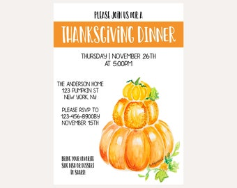 Thanksgiving Dinner digital invitation download, Friendsgiving, Pumpkin art, Editable, INSTANT DOWNLOAD, Print Email Text, watercolor