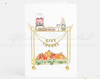 Give Thanks Bar Cart Thanksgiving Card Set, Happy Thanksgiving, thank you, Watercolor Fall art, give thanks, PSL, pumpkins, invitation