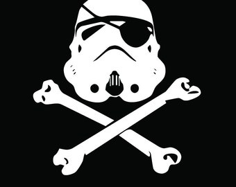 "Storm trooper skull and bones decal 8"" white, black, or matte black"