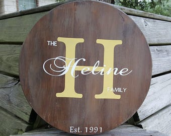 Custom Round Wood Name Sign, Personalized Anniversary Gift, Last Name Wood Sign, Personalized Wedding Gift, Rustic Family Established Sign