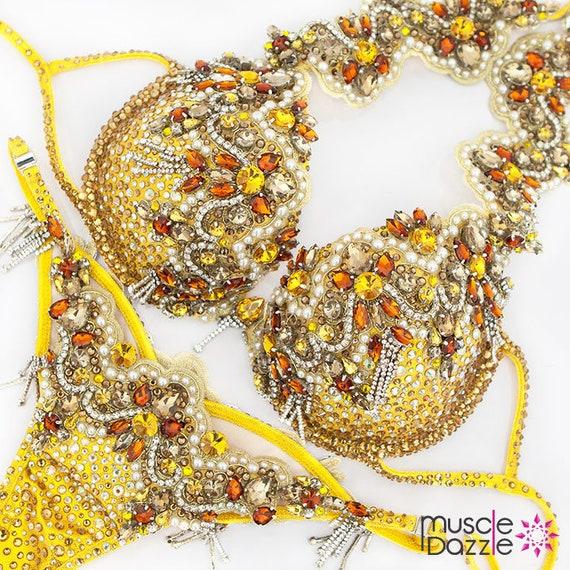 f98a41b82b Yellow WBFF Diva Bikini Suit DV046