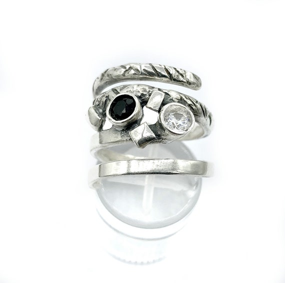 Black Oxidized White Zircon Handmade Textured Adjustable Ring