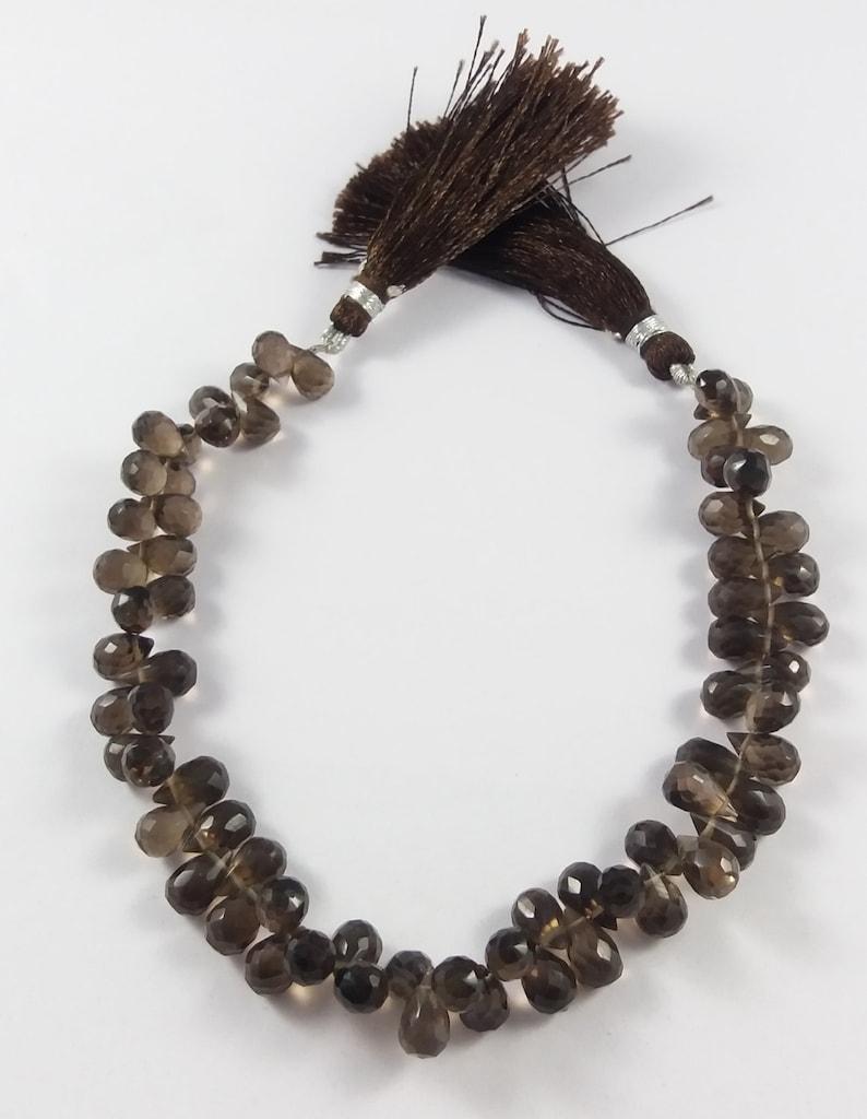 GSBr015 9x5 mm Smokey Quartz Briolette 8 Smokey Quartz Faceted  Drop Briolettes Drops Shape Beads