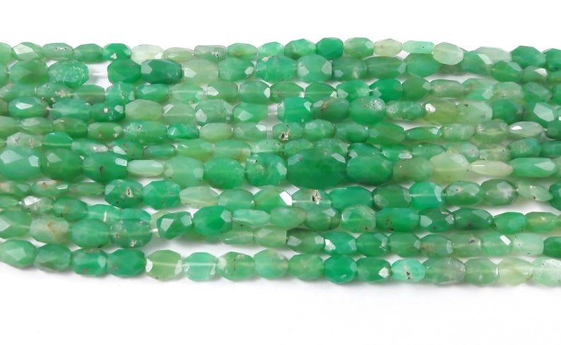 1 Strand Chrysoprase  9 mm x 7 mm  Chrysoprase Faceted OvalBeads Stone Facet Chrysoprase Oval Beads 13.5 inch Strand