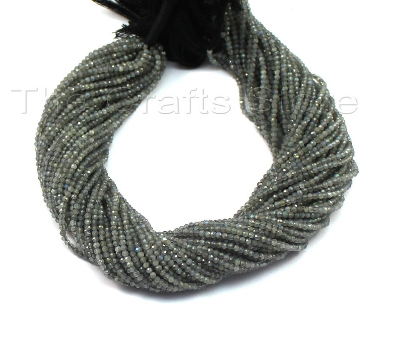 AAA 1 Strand 2mm-2.5mm Natural Labradorite Micro Faceted Beads Stone Facet Tiny Rondelles 13 inch Strands # Gs0022 +