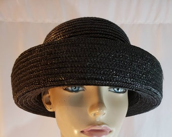 1729a90f32c Black straw derby bowler hat