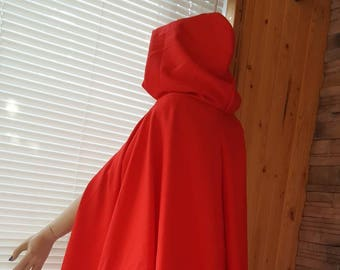 Red riding hood cape/hooded cape/red long cloak/costume cape with hood/Victorian cape/costume accessories/steampunk cape/Riding hood costume