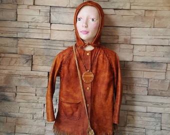 Rare Native American kids leater coat Hand made historical costume/hooded leather jacket/ elf cosplay costume/Children jacket/hobbit