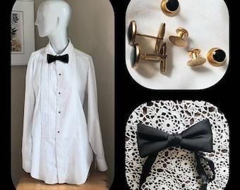 3d2b550a2e6 White Tuxedo Shirt  Black Bow Tie Cufflinks  4 Shirt Studs