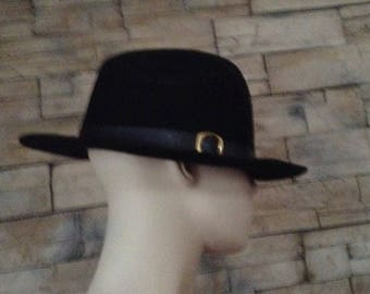 ae40e2af216 Black Felt Fedora Hat size 8  made in Canada by Biltmore  Gift for Him   Costume Accessories  Steampunk hat  Gift for Dad